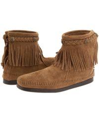 Minnetonka - Concho/feather Side Zip Boot - Lyst