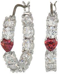 Swarovski - Love Hoop Pierced Earrings (rhodium Plating/white) Earring - Lyst