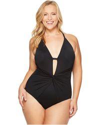 La Blanca - Plus Size Island Goddess Twist Front Lingerie Mio (black) Women's Swimsuits One Piece - Lyst