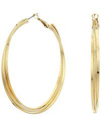Guess - Triple Rolling Clutchless Hoop Earrings (silver) Earring - Lyst