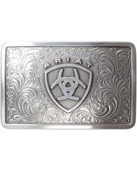 Ariat - Rectangle Filagree Shield Buckle (silver) Men's Belts - Lyst