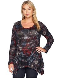 Nally & Millie - Plus Size Paisley Patch Stripe Printed Tunic (multi) Women's Blouse - Lyst
