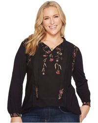 Lucky Brand - Plus Size Tie Neck Top - Lyst