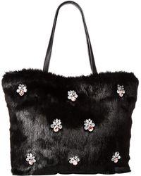 Betsey Johnson - Bejeweled Fur Tote (black) Tote Handbags - Lyst