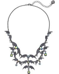 "Betsey Johnson - Hematite-tone Crystal & Bead Bat Statement Necklace, 16"" + 3"" Extender - Lyst"