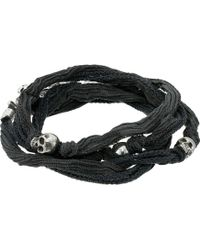 King Baby Studio | Multi Wrap Charcoal Silk Bracelet With Skulls | Lyst