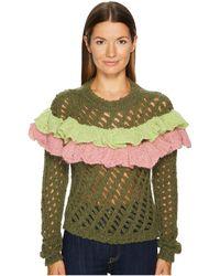 Boutique Moschino - Green Ruffle Sweater - Lyst