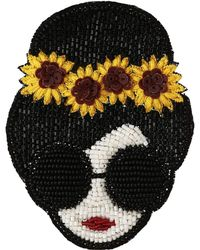 Alice + Olivia Stace Face With Sunflowers Beaded Brooch - Multicolor