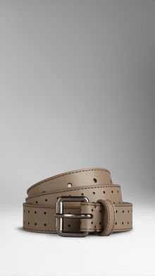 Burberry Perforated London Leather Belt - Lyst