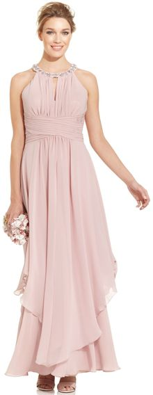 Eliza J Sleeveless Jewelneck Halter Gown - Lyst
