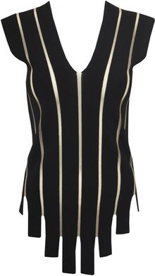Jean Paul Gaultier Sleeveless Vneck Knit Top Black - Lyst