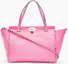 Valentino Fuchsia Leather Rockstud Medium Trapeze Tote - Lyst