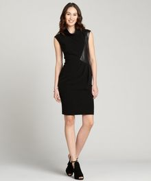 Lafayette 148 New York Black Stretch Leather Accent Sleeveless Robin Dress - Lyst