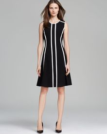 Calvin Klein Dress Pinstriped Fit and Flare - Lyst
