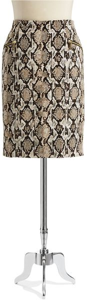 Michael by Michael Kors Snake Skin Print Pencil Skirt - Lyst
