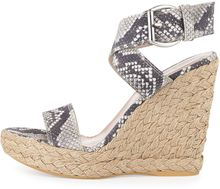 Stuart Weitzman Xray Snakeprint Jute Wedge Natural Made To Order - Lyst