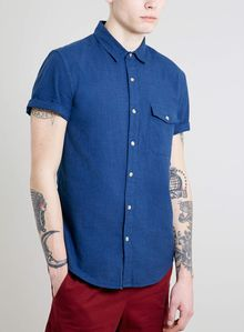 Topman Blue Twisted Yarn Short Sleeve Shirt - Lyst