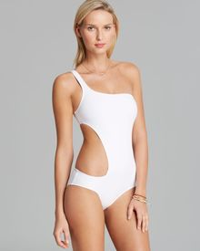 DKNY Solid One Shoulder Asymmetrical Cut Out One Piece Swimsuit - Lyst