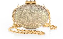 Christian Louboutin Mina Rhinestone Metallic Leather Convertible Clutch - Lyst