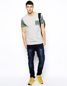 Asos Tshirt with Contrast Leaf Print Sleeves and Pocket - Lyst