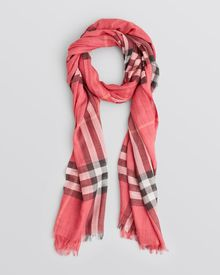Burberry Giant Check Wool Silk Gauze Scarf - Lyst