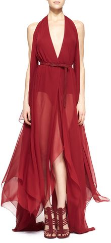 Donna Karan New York Belted Paneled Chiffon Evening Gown Ruby Red - Lyst