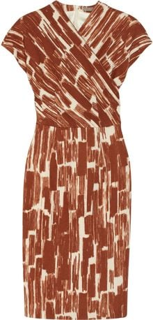 Bottega Veneta Printed Woolcrepe Wrapeffect Dress - Lyst