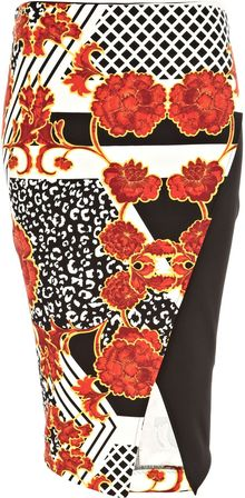 River Island Orange Oriental Leopard Print Wrap Skirt - Lyst