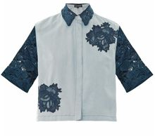 House Of Holland Laceinsert Denim Shirt - Lyst