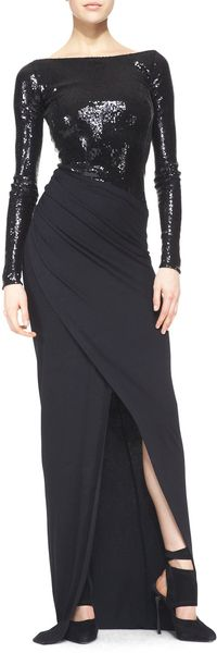 Donna Karan New York Floorlength Longsleeve Gown with Sequins Black - Lyst