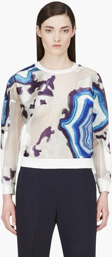 3.1 Phillip Lim Grey and Blue Geode Embroidered Sweatshirt - Lyst