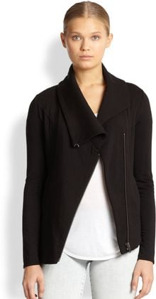 Helmut Lang Villous Asymmetrical Stretch Knit Jacket - Lyst