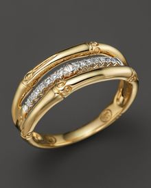 John Hardy Bamboo 18k Yellow Gold Diamond Pave Ring - Lyst