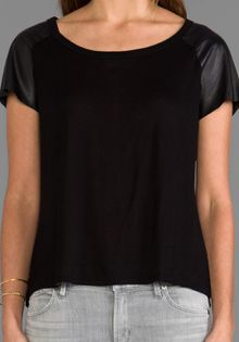 Enza Costa Leather Sleeve Raglan Tee in Black - Lyst
