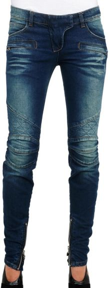 Balmain Stretch Demin Destroyed Quilted Jeans - Lyst