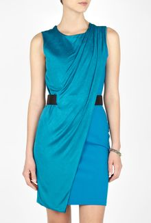 Halston Heritage Mosaic Blue Sleeveless Drape Front Belted Dress - Lyst