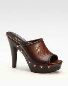 Gucci Craft Studded Mid Heel Clogs - Lyst