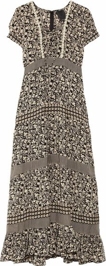 Anna Sui Printed Silk-chiffon Maxi Dress - Lyst