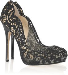 Jimmy Choo Faith Lace and Patent-leather Pumps - Lyst