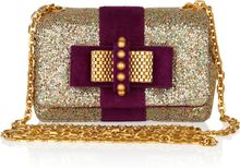 Christian Louboutin Mini Sweet Charity Glitter and Suede Bag - Lyst