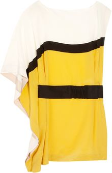 Vionnet Belted Color-block Silk Tunic - Lyst