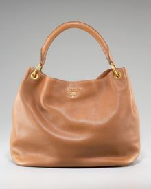 Prada Vitello Daino Pebbled Calfskin Leather Hobo - Lyst