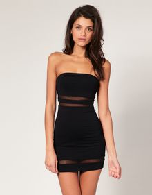 ASOS Collection Asos Bandeau Bodycon Dress with Mesh Insert - Lyst