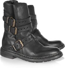 Burberry Explorer Leather Biker Boots - Lyst