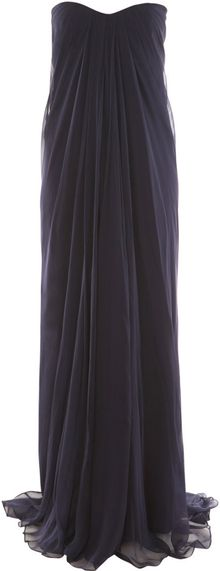 Alexander McQueen Strapless Silk-chiffon Dress - Lyst