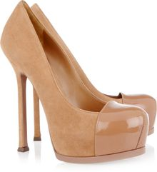 Saint Laurent Tribtoo Suede and Patent-leather Pumps - Lyst