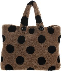 Marc Jacobs Pois Shopper Sherling Sheep Fur Black Polka Dots Pattern Bag - Lyst