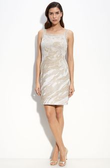 St. John Evening Rose Garden Metallic Jacquard Knit Dress - Lyst