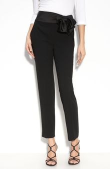 St. John Evening Satin Waist Marocain Crepe Pants - Lyst