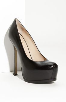 Saint Laurent Tribtoo Leather Platform Pump - Lyst